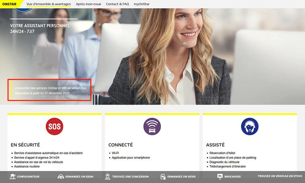 Visuel opel onestar service deconnecte payant page site