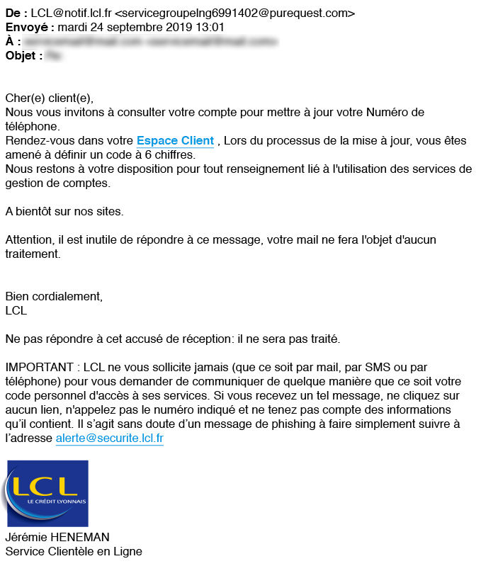 Exemple faux mail LCL 1