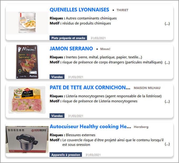 Quelques produits présents sur RappelConso
