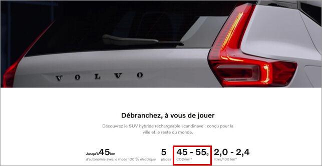 visuel volvo hybrid consommation emissions co2