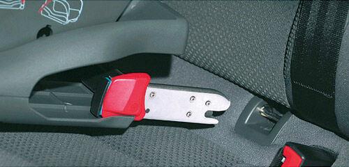 Attache Isofix du siège et point d'ancrage de la voiture.