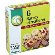 Barres de céréales chocolat/banane Auchan/Pouce