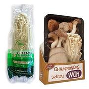 Champignons Enoki et mélange de champignons spécial wok/Carrefour