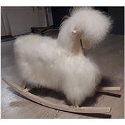 Cheval à bascule en bois en mouton blanc Peausserie Sabatier