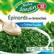 Épinards en branches à la crème fraîche Notre jardin/E. Leclerc