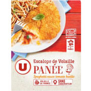 Escalope de volaille panée spaghetti sauce tomate basilic Système U