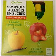 Gourdes de compotes allégées en sucres pomme-fraise et pomme-vanille Casino