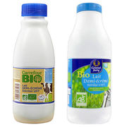 Lait demi-écrémé Bio et lait demi-écrémé Grand jury / Carrefour