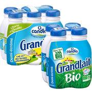 Lait demi-écrémé Candia Grandlait et Grandlait Bio