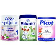 Laits infantiles Picot, Pepti et Milumel 1er âge (usines Lactalis)
