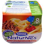 """Nestlé - Plat cuisiné pour bébé """"NaturNes spaghetti, tomates boeuf dès 8 mois"""""""